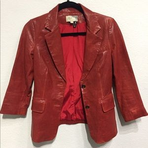 Elizabeth and James Red distressed leather blazer